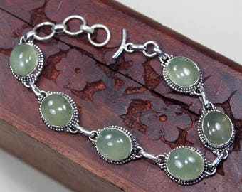"Green Prehnite Bracelet, 925 Sterling Silver,Genuine Natural Prehnite Jewelry,Gift for her,FINE jewelry Party Birthday Gift 7 1/4"" S995"