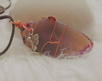 Purple Agate Slice Wrapped in Rose Gold