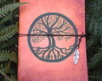 green life tree leather grimoire yggdrasil LARP notebook