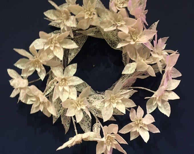 White iridescent glitter poinsettia door wreath