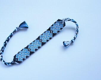 Celtic friendship bracelet woven bracelet cotton thread bracelet best friend gift blue white black