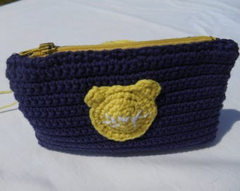 purse or pouch purple and yellow door