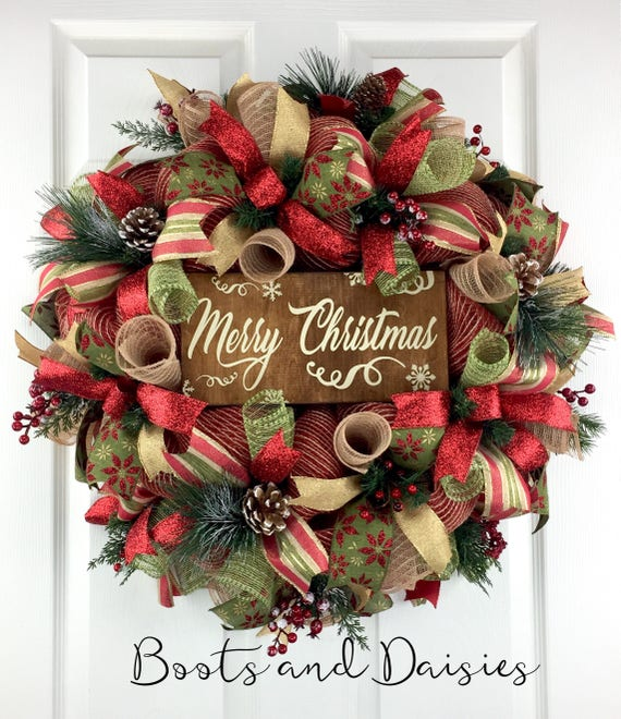 Christmas Mesh Wreath For Front Door Christmas Door Decor