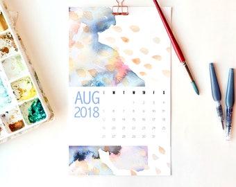 2018 Calendar, 2018 Wall Calendar, Large Wall Calendars, Abstract Calendar, Watercolor Calendar,  Modern Art Calendar, Best Selling Items