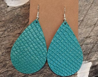 Cobra Ice Blue Leather Earrings