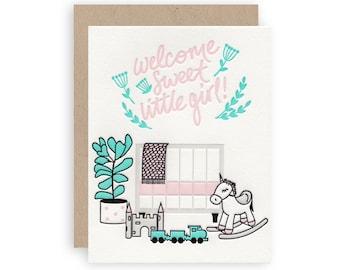 Girl Nursery - Letterpress Greeting Card