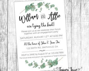 Bridal Invitation, Engagement Shower Invitation, Wedding Shower Invitation, Eucalyptus Invitation, Greenery Invitation, Anniversary Party