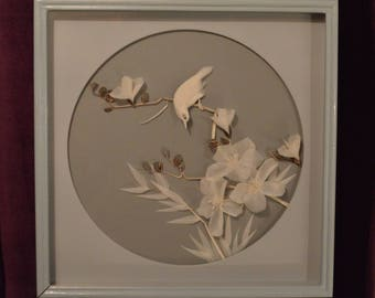 Vintage Asian Bird and Flowers Shadowbox Wood