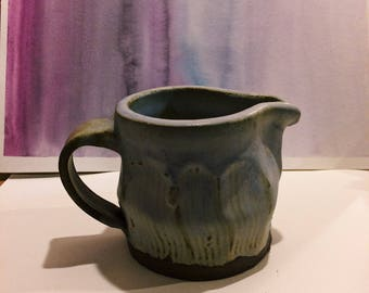 Lavender Stoneware Pitcher with Handle & Faceted Design