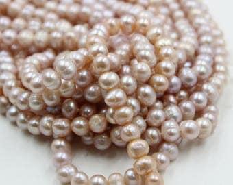 7 - 8 mm pink round freshwater pearls, pink round pearl, full strand, round pearl strands, pearl wholesale