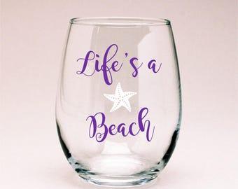 Life's a Beach Wine Glass