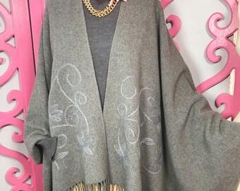 Mondi shawl/designer shawl/vintage shawl/vintage cape/Mondi cape/fab208nyc/grey cape/fab208