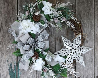 Christmas Wreath, Rustic Christmas Wreath, Snowflake Wreath, White Hydrangea Wreath, White and Silver Wreath, Holiday Wreath, Winter Wreath