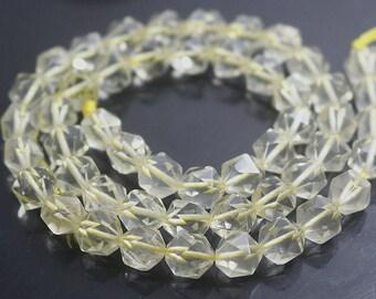 Faceted Lemon Quartz Beads 8mm 12mm Natural Faceted Lemon Crystal Quartz Beads Full Strand