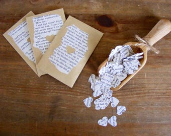 Book heart confetti in individual envelopes 200 hearts per envelope/ wedding/ party confetti.