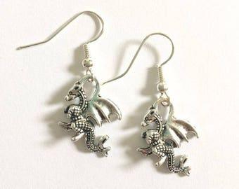 Silver Mini Dragon Earrings