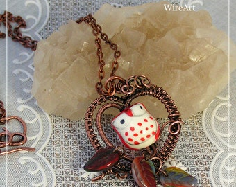 copper heart necklace with owl, wire wrap pendant, charming pendant, Gift for her