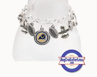 LoS ANGELES Football CHARM Bracelet, Silver Plated  **FREE U.S. SHiPPiNG**
