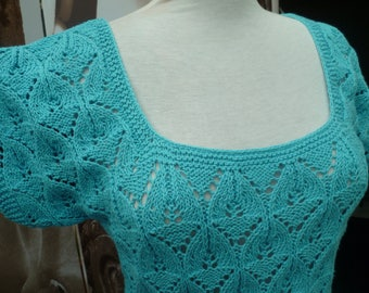 hand knit turquoise sweater