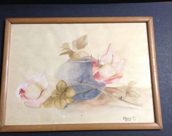 "Vintage watercolor painting signed ""Margi"", vase with leaves and flowers, wood frame."