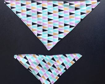 Pastel and gold dog bandana with poppers