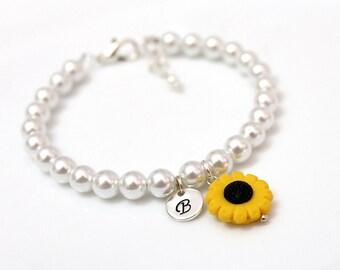 Sunflower Bracelet, Flower Girl Bracelet, Kids Wedding Jewelry, Childrens Personalized Bracelet, Childrens Jewelry, Flower Girl Gift