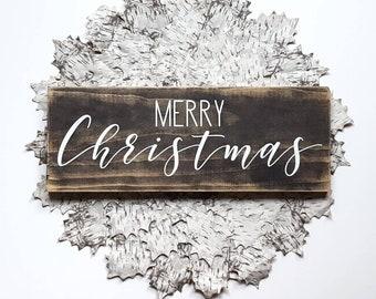 Wooden Christmas sign, Christmas decor, Merry Christmas wall hanging, farmhouse Christmas, rustic distressed Christmas, holiday decor