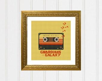 Guardians of the galaxy cross stitch pattern/guardiansofthegalaxy/Awesome mix tape/groot cross stitch/gamora guardians /#03-019
