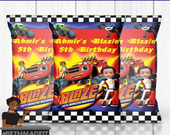 Blaze and the Monster Machines Party, Blaze and the Monster Machines Theme, Chip Bag, Party Favor, Party Decor, Kids, Custom Chip Bag