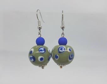 Unique earrings - blue and khaki