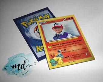 Pokemon Card Printable Invitation with photo