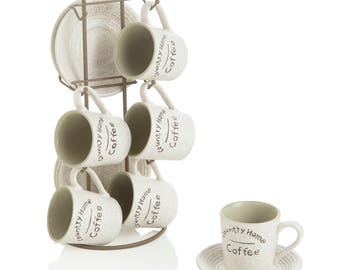 Stand with 6 cups and 6 Saucers ceramic Country Home