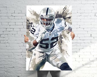 Khalil Mack Oakland Raiders - Sports Art Print Poster - Watercolor Abstract Paint Splash - Kids Decor - Gifts for Men - Man Cave