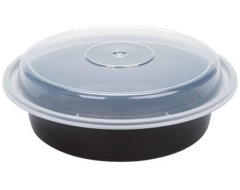 10 ct Black 24oz Round Microwavable Container with Lid, Containers, Take Out Containers, Take Out Boxes, Party, Wedding, Kitchen, Household