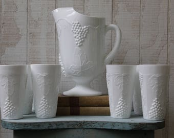 Vintage Milk Glass Pitcher and Tumblers with Harvest Grape Leaf Pattern