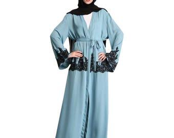 Latest open kimono abaya