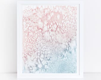 Pink Blue Wall Art, Printable Watercolor Art, Abstract Art Print, Abstract Printable Art, Pink and Blue Print, Abstract Art, Modern Print