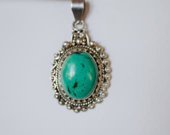 Handcrafted Genuine Blue Green Turquoise and Sterling Silver Pendant.