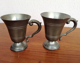 2 Old 30-50s vintage tin cups 92% tin, 30s vintage
