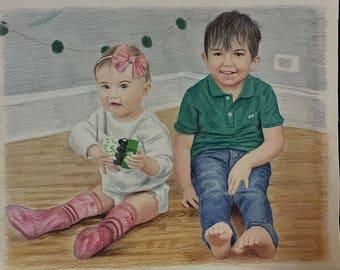 colored child portrait, child drawing, kid portrait, custom portrait, custom drawing, colored portrait, pencil portrait, child illustration