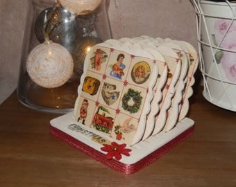 Tray with its old Christmas coasters