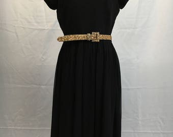 60's Chiffon Black Carol Brent Dress