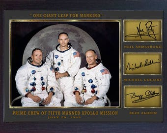 Neil Armstrong Michael Collins Buzz Aldrin signed NASA Apollo 11 Framed Print