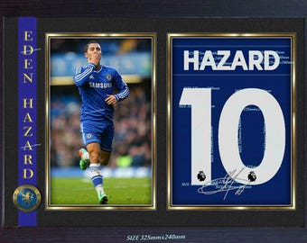 Eden Hazard signed autograph photo print repro poster Football Chelsea Framed #3