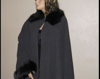 Vintage FUR CAPE Edwardian Fur Cape Fur Cloak Steampunk Cloak Faux Fur Cap Plus Size by BrowseMyVintageShop