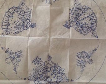 1940s vintage crinoline lady circular tablecloth embroidery transfer