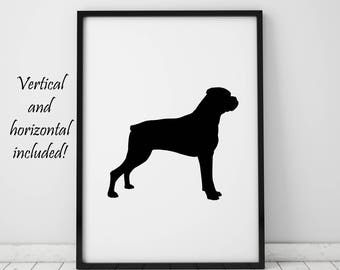 Boxer Dog Print Dog Owner Gifts Dog Lover Gift Dog Silhouette Wall Art Printable Art Prints Minimalist Poster Wall Decor Instant Download