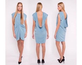 Open back dress, blue dress, blue detail dress, short dress, elegant dress, sleeveless dress,  silky dress, party dress