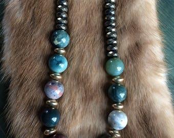 Ocean Jasper Necklace with Pyrite - 14k Gold Filled - OOAK