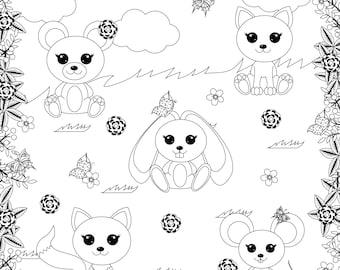 80% OFF SALE Animals digital stamp, digital stamp, cute animals digital stamp, fox, bear, cat, mouse, hare